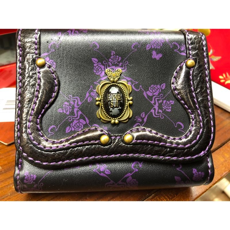 Anna sui紫黑色花紋 三折皮夾
