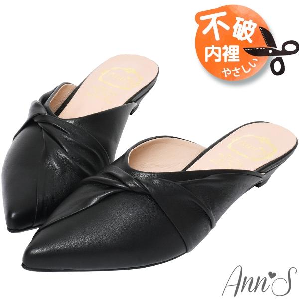 Ann'S典雅氣質-蝴蝶結小羊皮低跟尖頭穆勒鞋-黑(版型偏小)