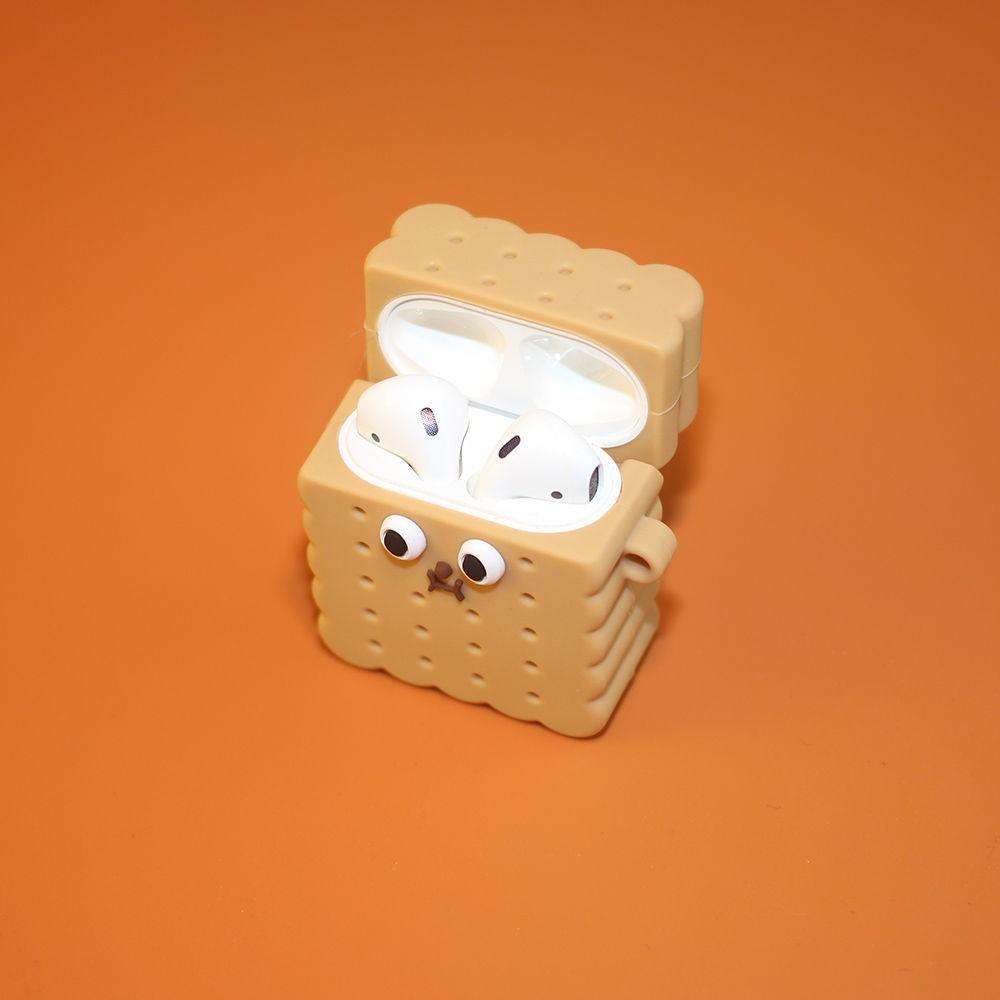小餅干airpods保護套i12無線耳機套pro華強北3代硅膠軟殼卡通