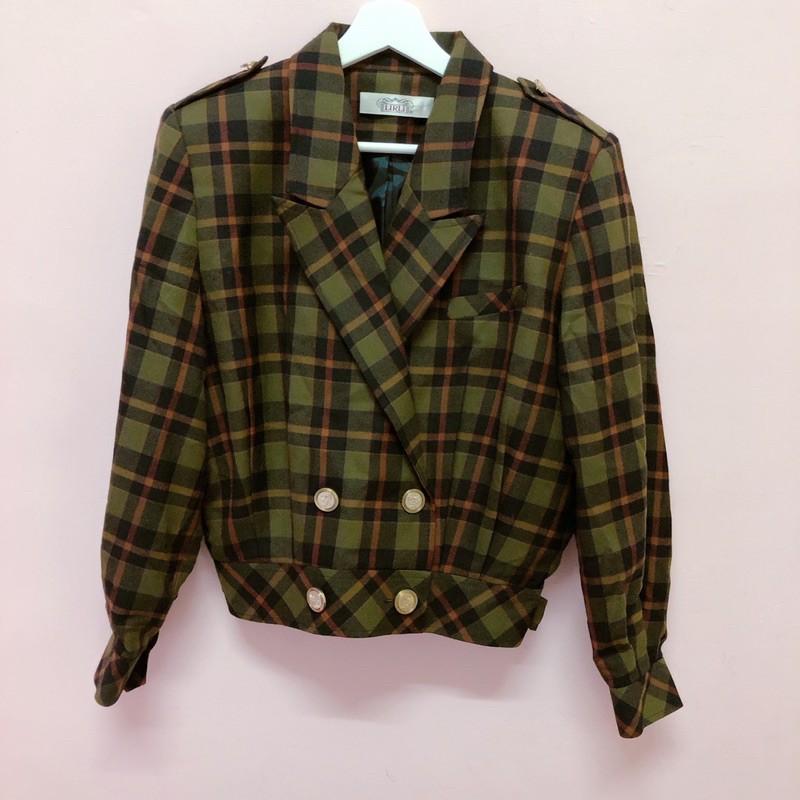 早期 復古 綠色格子 外套 墊肩 西裝外套 古著