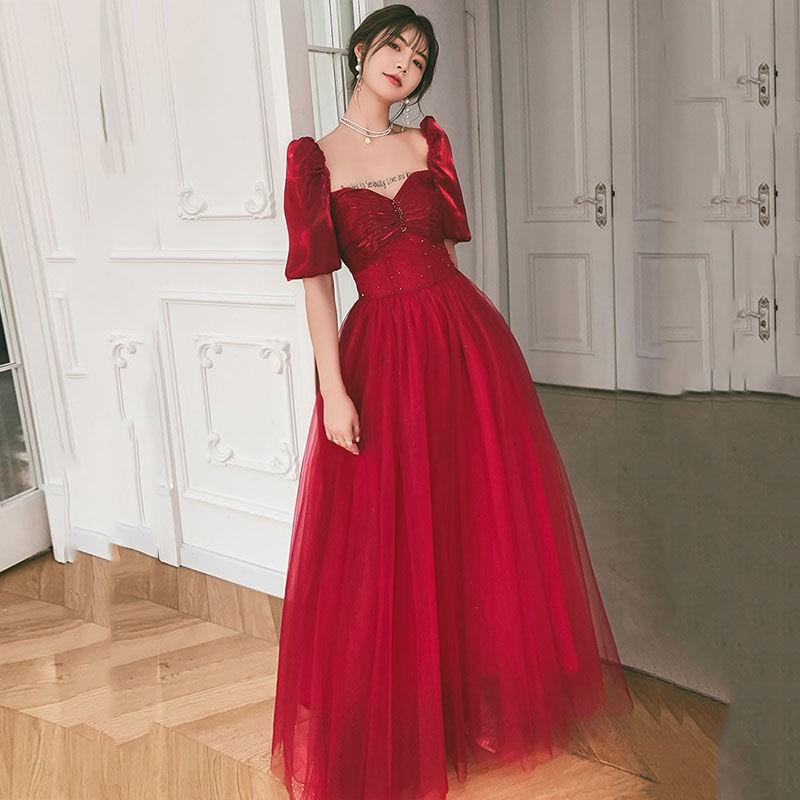 【婚纱礼服伴娘服】紅色結婚敬酒服2021新款春夏季高貴氣質長款結婚訂婚回門晚禮服女