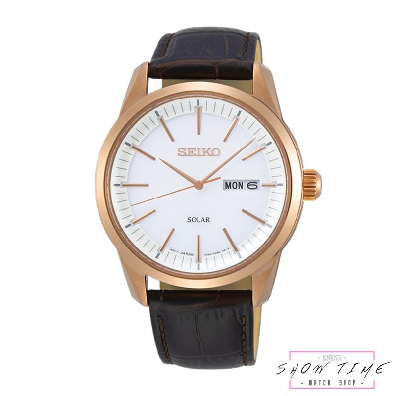 SEIKO 精工 質感簡約太陽能紳士腕錶-皮帶/白面玫瑰金 SNE530P1 [ 秀時堂 ]