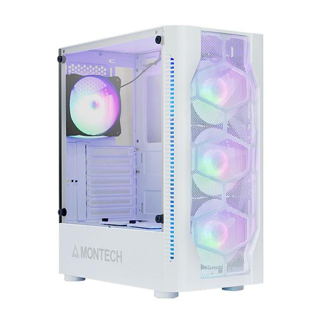 MONTECH(君主) X1 內建炫彩固光風扇前3後1 側面玻璃 電腦機殼 (白)【神麒數位】
