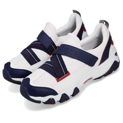 Skechers D'lites 2.0 女 輕量 魔鬼氈 白藍紅 休閒鞋12978WNVR 23~25.5[Q2現貨]