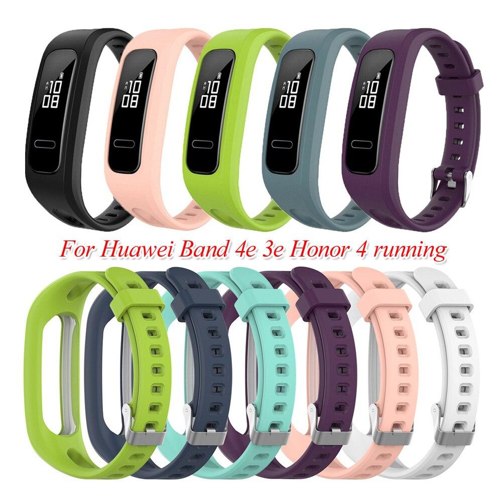 適用於華為榮耀手環4 Running版 矽膠手錶帶 運動腕帶華為手環band 4e 3e