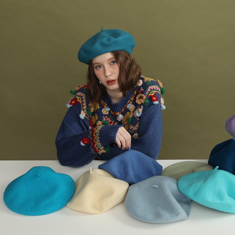 【gghh】石原里美西班牙同款羊毛貝雷帽子藍綠色秋冬英倫復古畫家帽孔雀藍