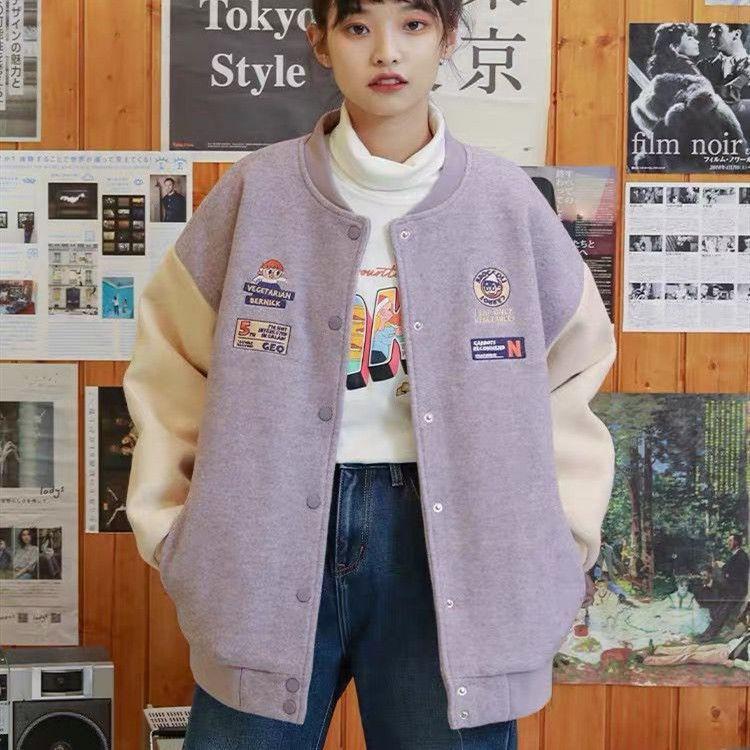 外套 薄外套 夾克 棒球服 棒球服鋪棉外套女新款毛呢外套女學生韓版寬鬆刷毛加厚外套女