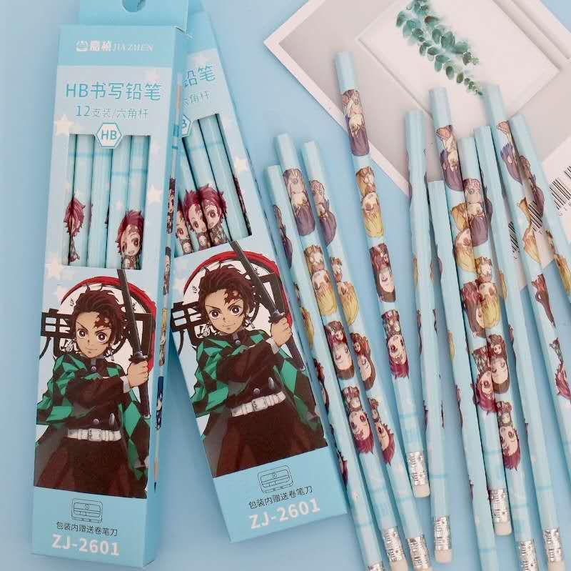 【鬼滅之刃鉛筆】HB帶橡皮鉛筆12支裝二次元日本鬼滅之刃動漫筆小學生用品
