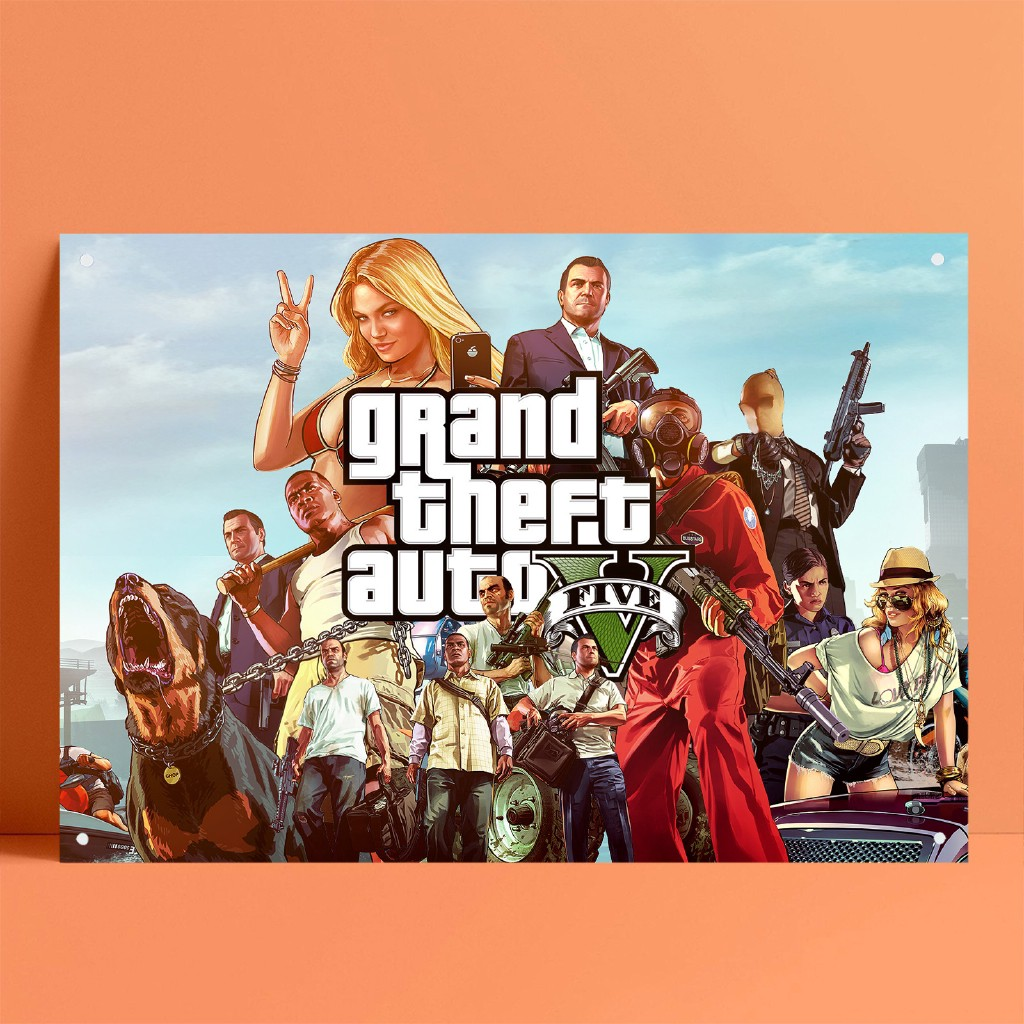 GTA 俠盜獵車手任天堂 PC PSP Switch 遊戲海報錫畫錫標誌金屬標牌酒吧酒吧家居墻壁裝飾 - P431