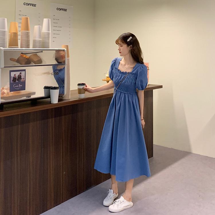 IELGY 溫柔風方領連衣裙女裝夏季2021新款法式復古設計感小眾超仙長裙