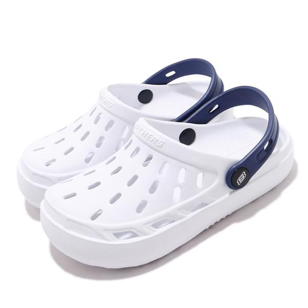 SKECHERS 【400064LWHT】中大童 洞洞鞋 水鞋 Swifters 防水 白深藍黑