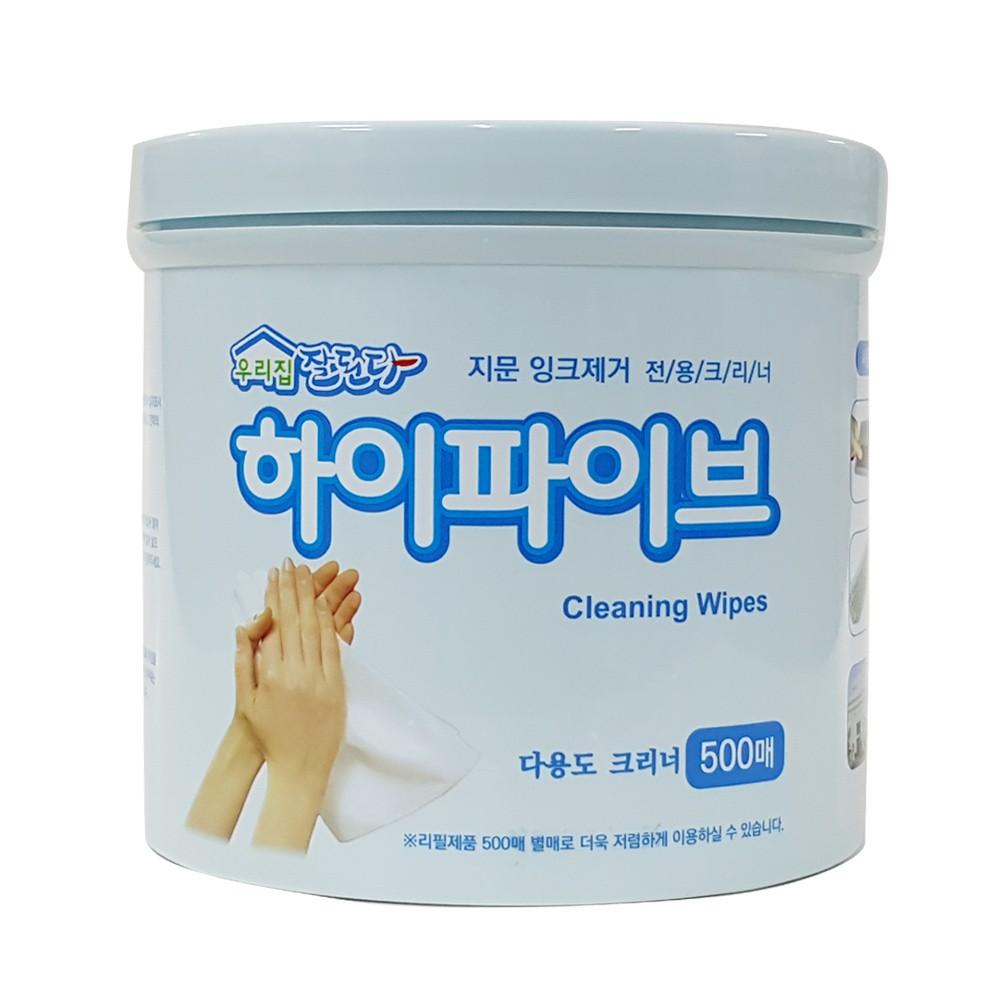 韓國 Cleaning Wipes 清潔濕紙巾 500抽/桶 大容量 家庭用