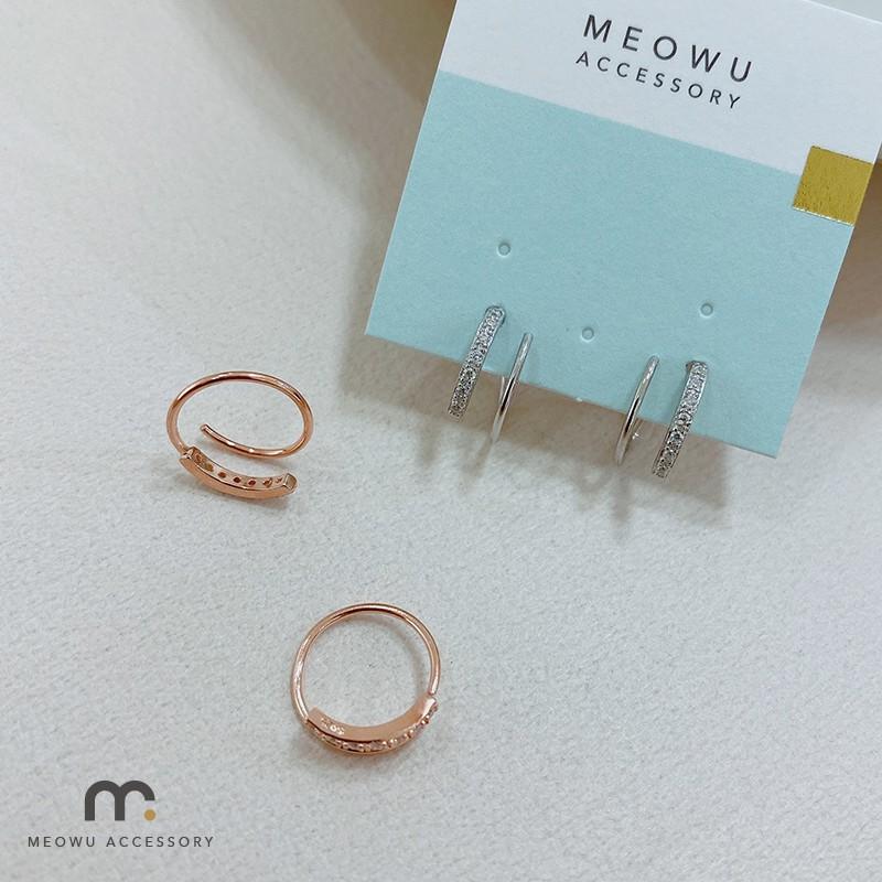 ED1146 細語圈圈 S925 通體純銀 耳環|喵ㄨ MEOWU