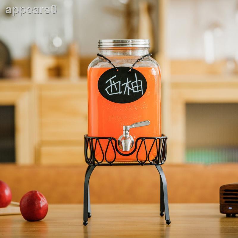 新品 果汁罐帶龍頭玻璃瓶透明玻璃瓶酵素瓶家用果汁罐泡酒瓶密封罐