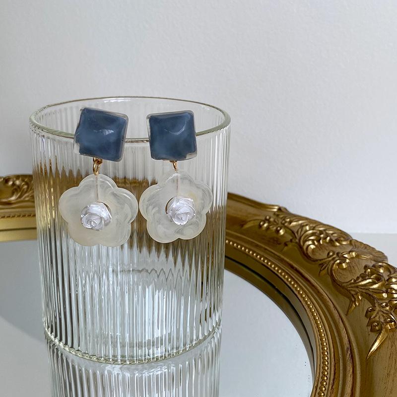 MG STUDIO/s925銀針藍色水波紋冰塊花朵耳環 手作暈染玫瑰花朵耳釘耳夾
