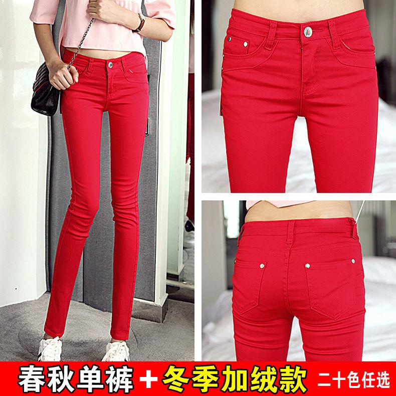 【現貨】高品質98棉高彈力仿牛仔褲 女小腳褲新款鉛筆褲 長褲子中高腰緊身褲