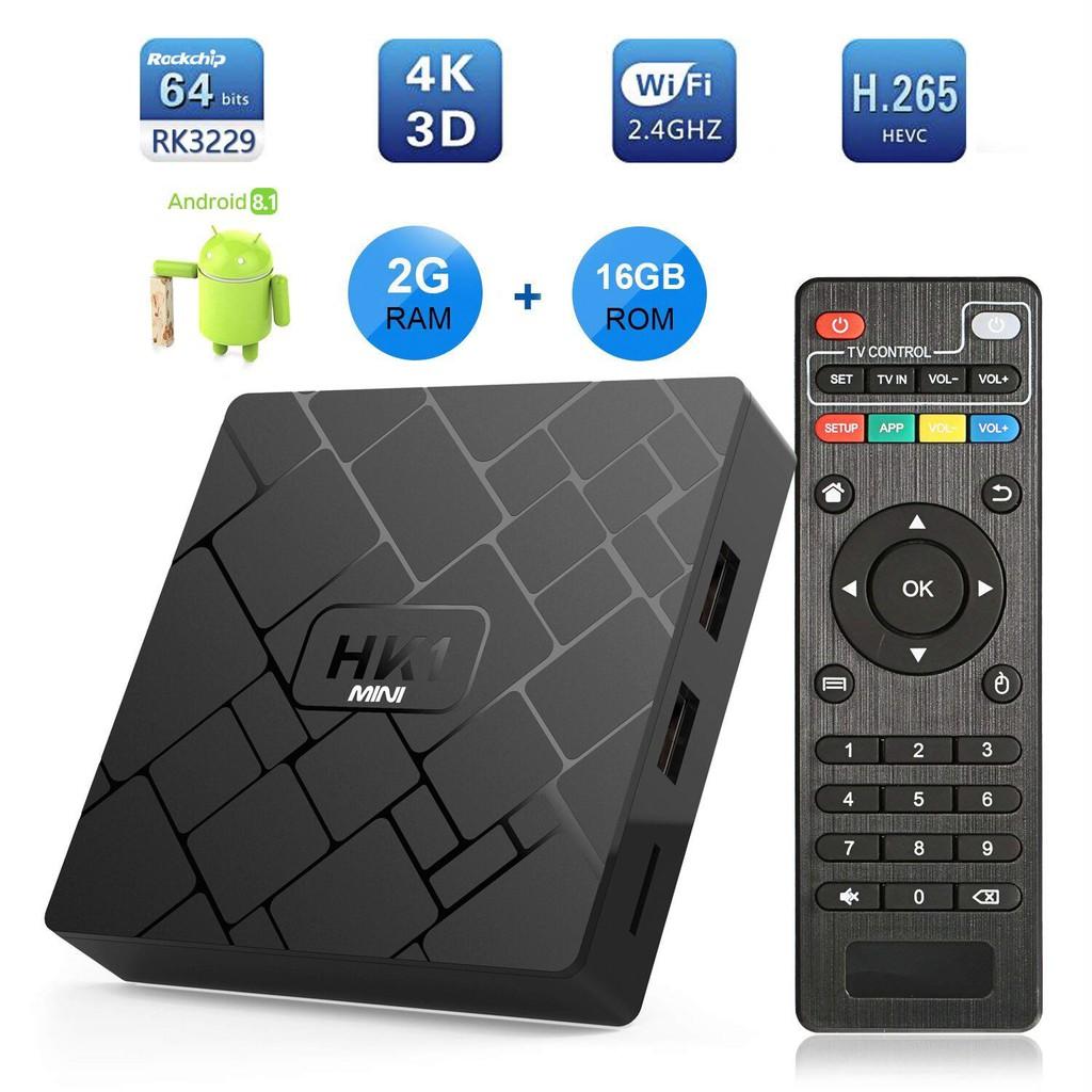 爆款 HK1 mini TV BOX RK3229四核2G/16G Android 9.0安卓機頂盒播放