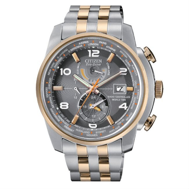 CITIZEN 星辰錶 AT9016-56H 商務科技電波光動能腕錶 /雙色灰面 46mm