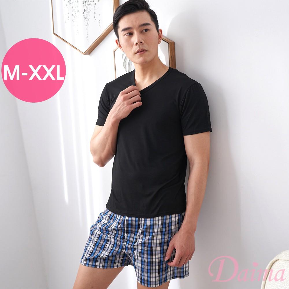【黛瑪Daima】M-XXL親膚透氣素色休閒男士上衣 黑 2066