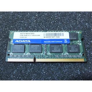 原廠終身保固 ~ ADATA 威剛 2GB PC3-10600 /  DDR3-1333 1.5V SO-DIMM 新北市