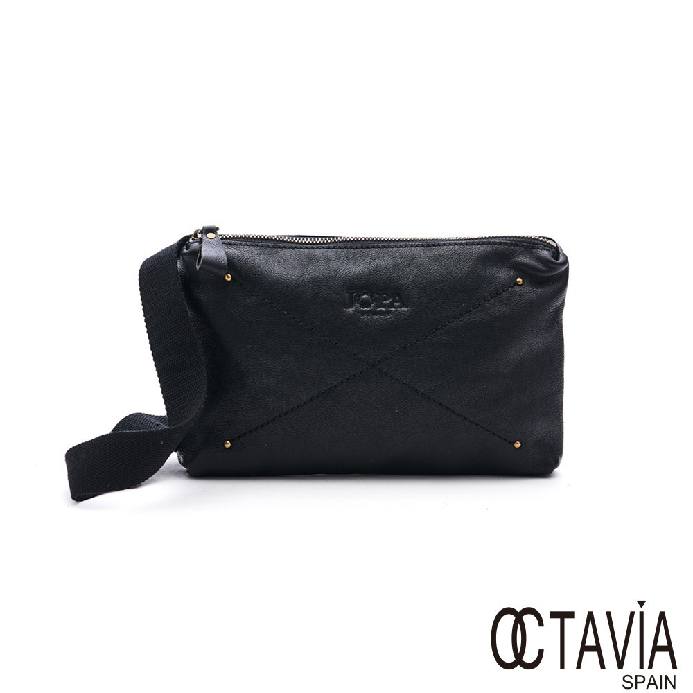 OCTAVIA 8 真皮3D扁包 JOPA立體簡裁扁型二用斜肩胸背包 - 設計黑 廠商直送 現貨