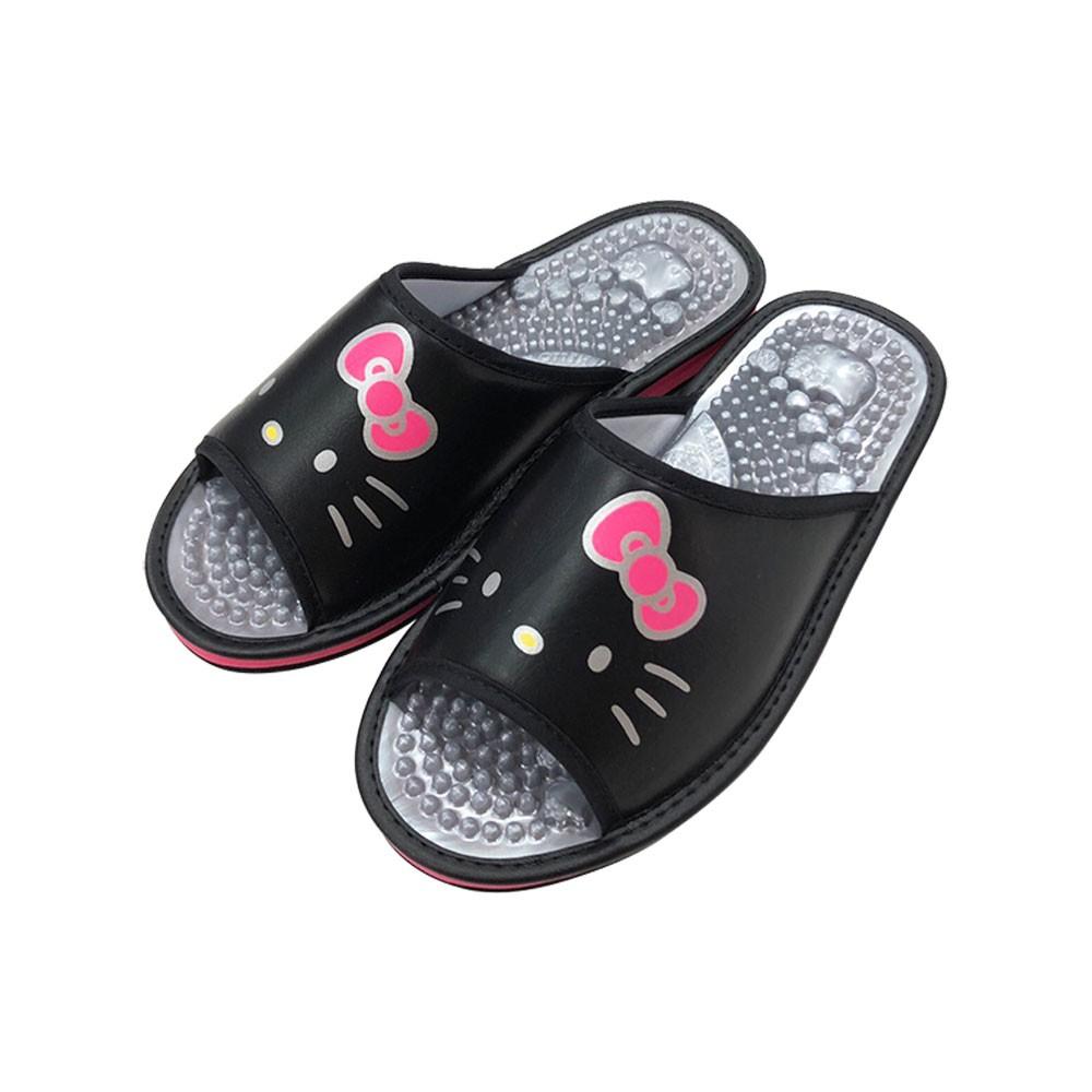 HELLO KITTY艾樂跑女鞋-健康按摩拖鞋-黑/白(918151)