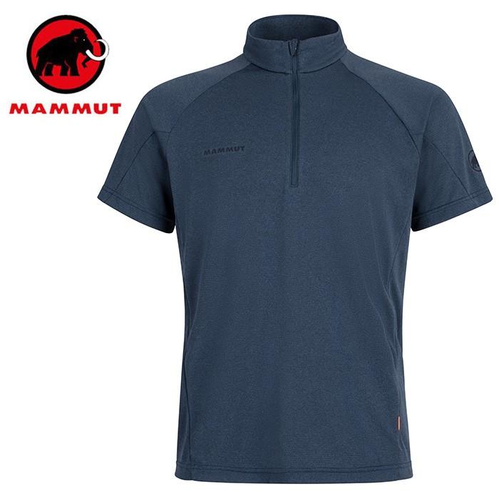 【Mammut 長毛象 瑞士】Aegility 立領短袖排汗衣 運動上衣 男款 海洋藍 (01750-5784)