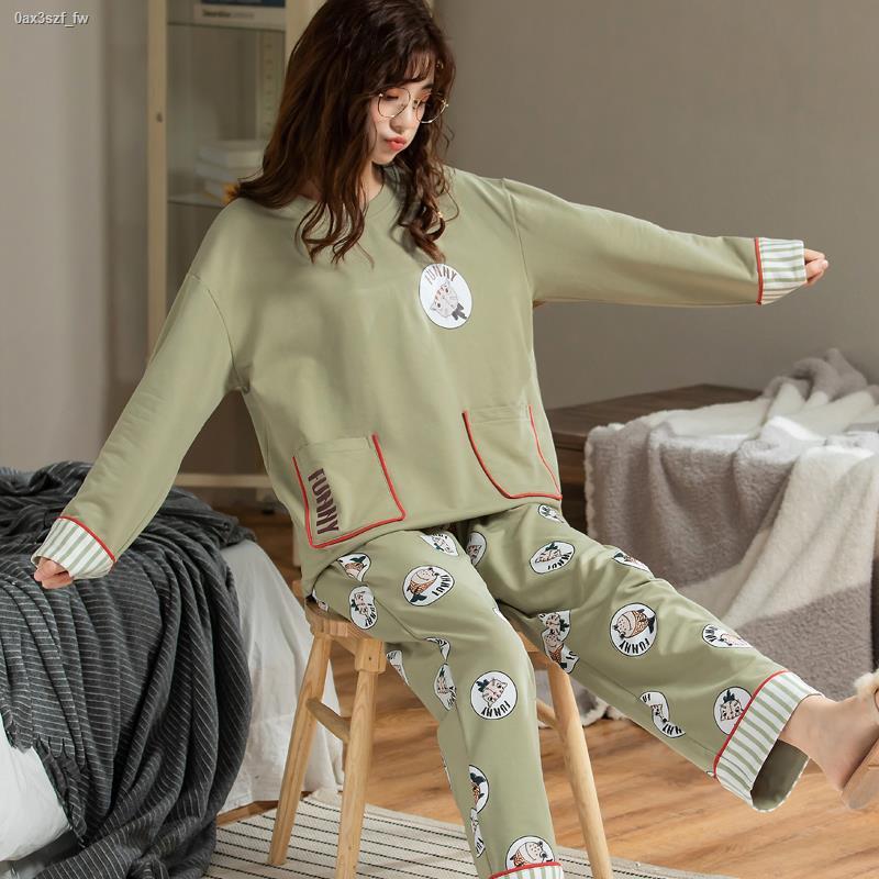 ☏睡衣女士春秋款純棉長袖秋冬季全棉韓版可愛學生可外穿家居服套裝
