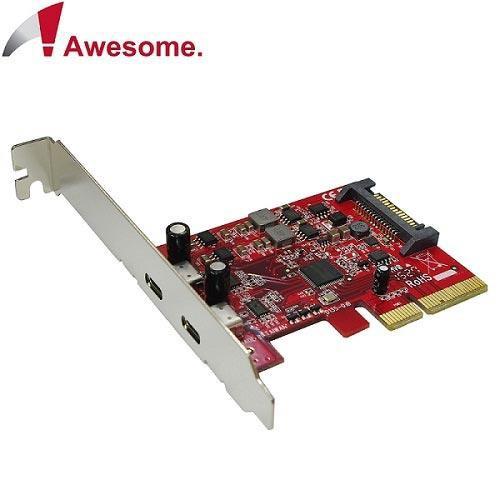 Awesome PCIe x4 2埠TypeC USB 3.1 10Gbps擴充卡-AWD-UB-135
