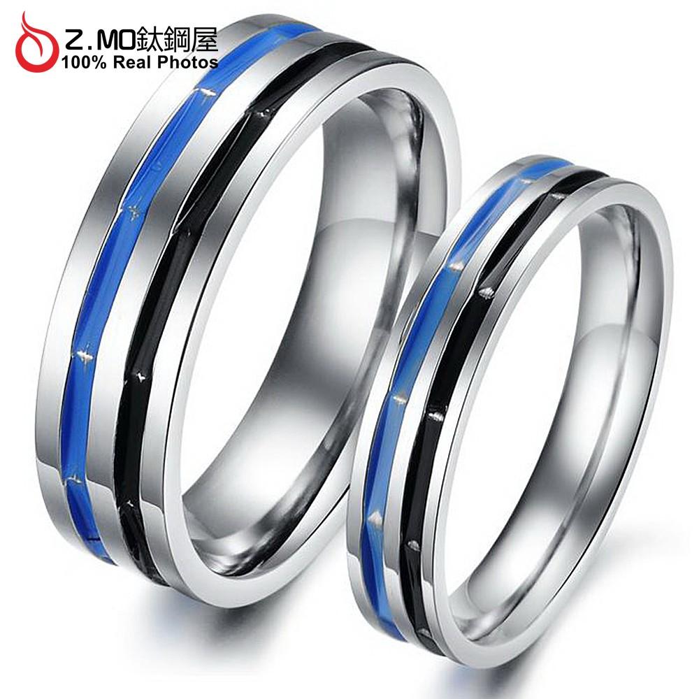 情侶對戒指 Z.MO鈦鋼屋 戒指 情侶戒指 白鋼對戒 鈦鋼戒指 可刻字 雙線條戒指 生日送禮 聖誕節禮物【BKY295】