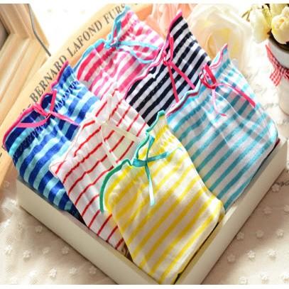6條1組~日單純棉條紋糖果色可愛柔軟內褲