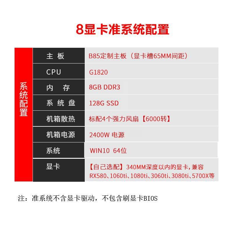 【顯卡】8顯卡直插準系統機箱3080、1080ti等顯卡2400w電源以太坊、eth礦
