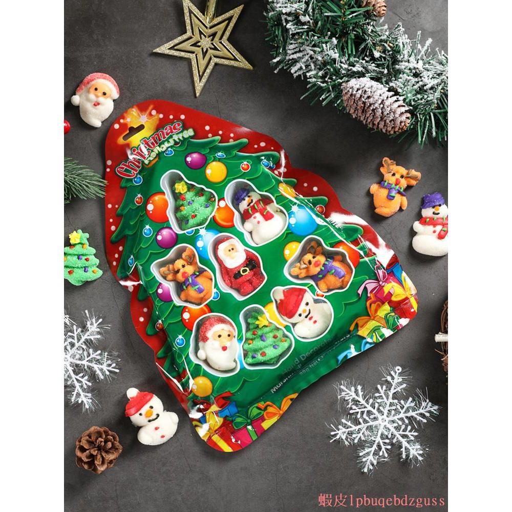 熱銷聖誕節糖果棉花糖 手工創意糖人蛋糕裝飾聖誕樹老人雪人卡通軟糖#356