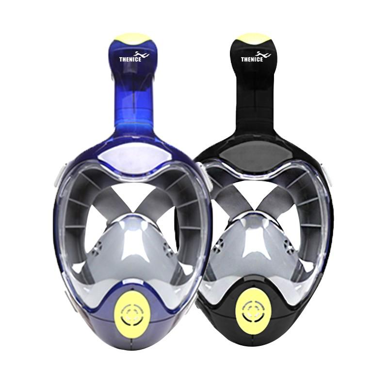【免運】【THENICE】全罩式浮潛呼吸面罩-忍者款(藍/黑)【TN21】新一代 雙孔呼吸 雙口閥 兩年保固 摺疊