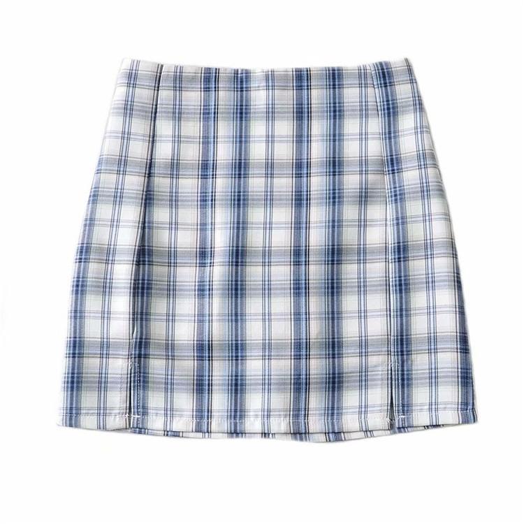 【桃兮兮】少女格子短裙女2021款高腰顯瘦減齡a字裙防走光a字包臀裙