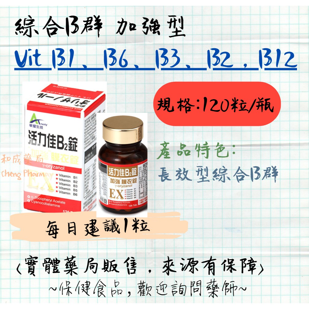 (長效型 1粒)活力佳B2 加強型 合利他命EX  VitaminB1/B2/B3/B5/B6/B12 實體藥局門市販售