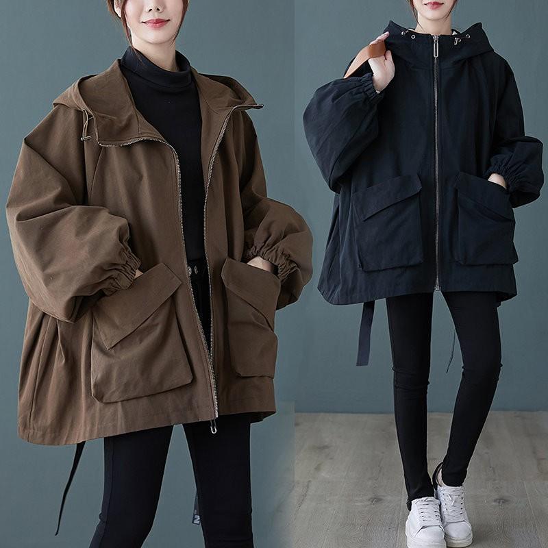 韓版連帽外套 寬鬆外套 短大衣 長大衣【0177H】中大尺碼外套