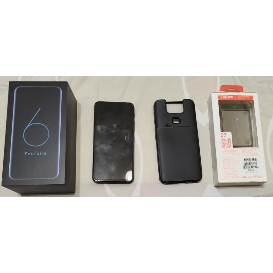 [二手] Asus Zenfone6 黑 6G/128G 附犀牛盾手機殼+全新10000mAh 行動電源