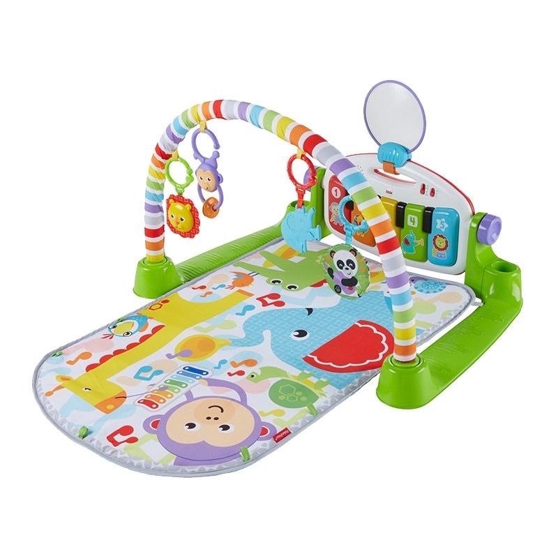 二手九成新❤️正版費雪豪華腳踏鋼琴健身架器新生寶寶嬰兒健身架 寶寶健力架 健力架踢踢琴 腳踏粉藍色健身架玩具游戲音樂毯
