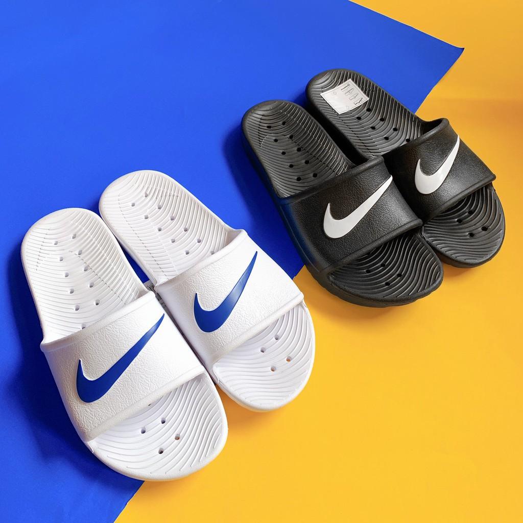 Nike Kawa Shower Slide 黑底白勾 白藍 全防拖 拖鞋 洞洞 男女 832528-001