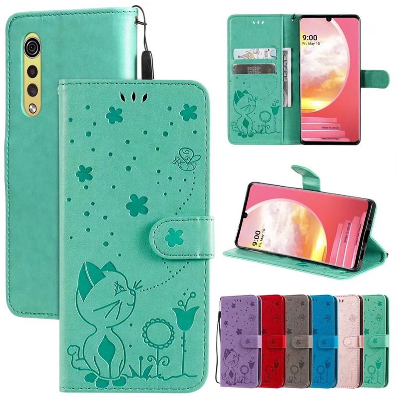 LG手機壓紋貓和蜜蜂翻蓋皮套 G8 G8S G7 G9 V60 ThinQ Velvet 2 Pro 壓花防摔保護殼