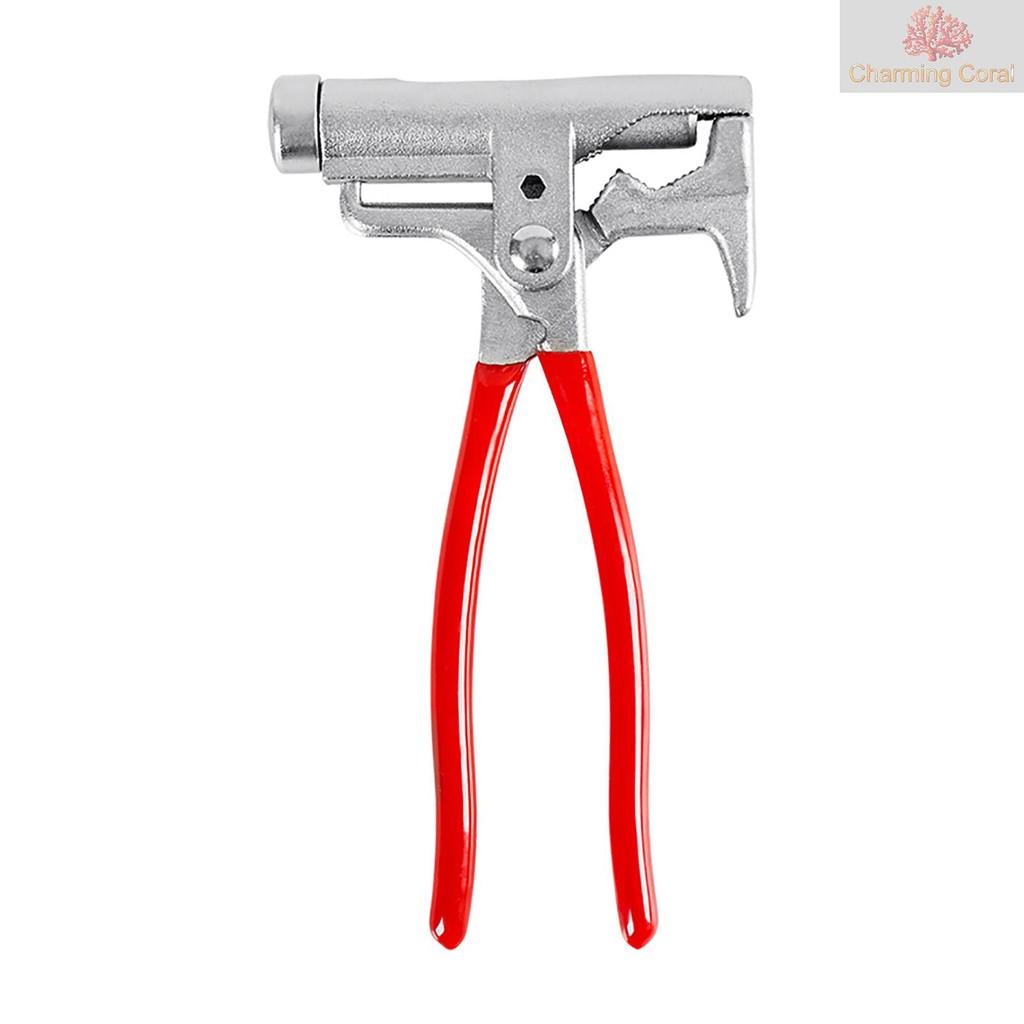 10合一萬能錘便攜多功能一體萬用工具:木工錘+螺絲刀+拔釘器+定釘鉗+扳手+管鉗+鋼絲鉗+捲邊+打眼
