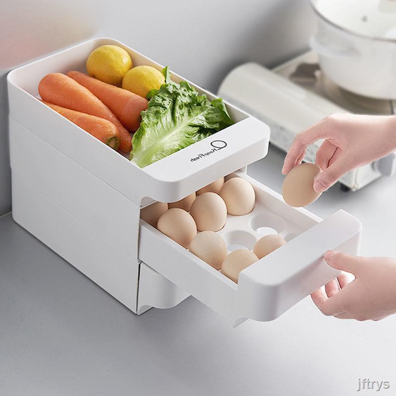 jft 現貨冰箱用放雞蛋的收納盒抽屜式雞蛋盒專用保鮮盒蛋托蛋盒架托裝神器
