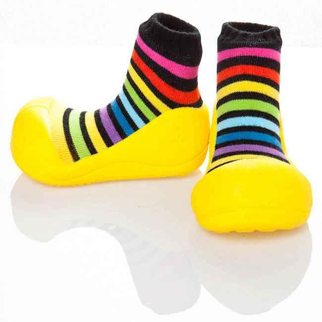 韓國 Attipas 快樂腳襪型學步鞋-彩虹黃底【麗兒采家】【麗兒采家】