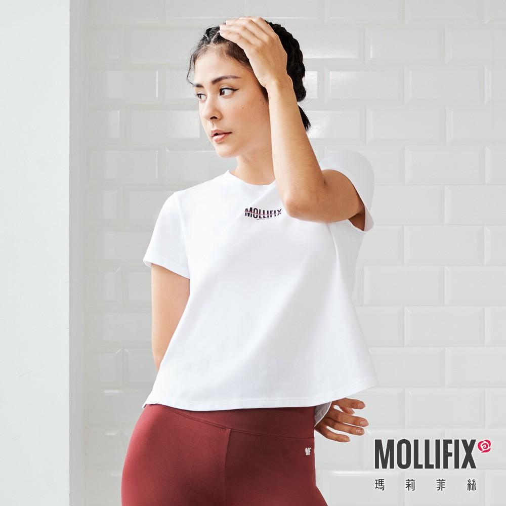 Mollifix 瑪莉菲絲 簡約造型短袖上衣 (白)