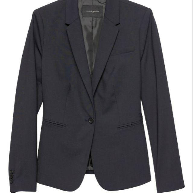 Banana Republic 羊毛輕量修身黑色經典西裝外套