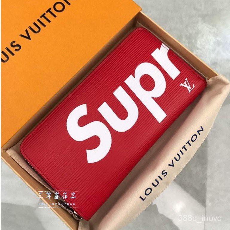 LV LOUIS VUITTON(路易威登)Supreme聯名款水波紋拉鍊長夾  錢包 手拿包M60305 jeRp