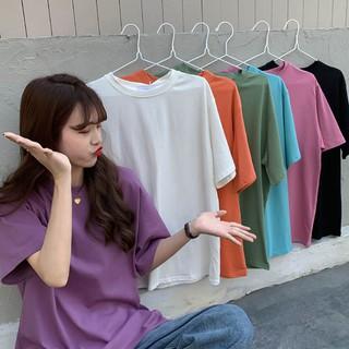 七色可選 短袖T恤 短T 馬卡龍色系 基礎款 素色 圓領 寬鬆 簡約風 百搭 女生 上衣