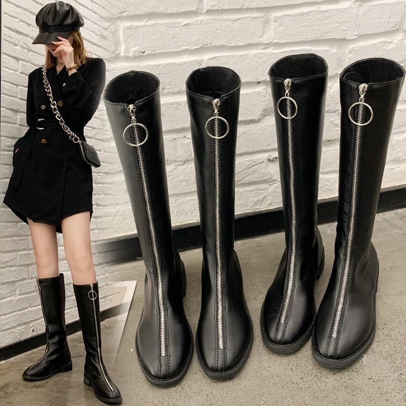 粗跟前拉鏈長筒靴女2020新款秋冬高筒韓版不過膝長靴小個子騎士靴