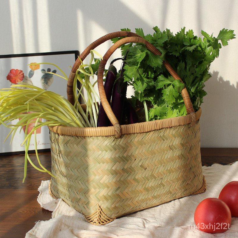 純手工竹製手藝品/竹編提籃農家雙提手籃子手提籃竹製品水果籃編織菜籃購物籃家用